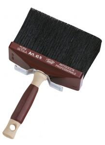 Plafoniera in setola nera, manico in legno
