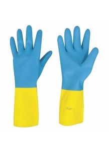 Guanti in lattice giallo rivestiti in neoprene blu