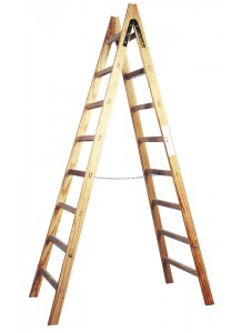 Scala a doppia salita in legno a pioli. 6 gradini